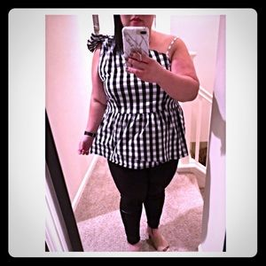 Who What Wear Gingham one shoulder Peplum top XL